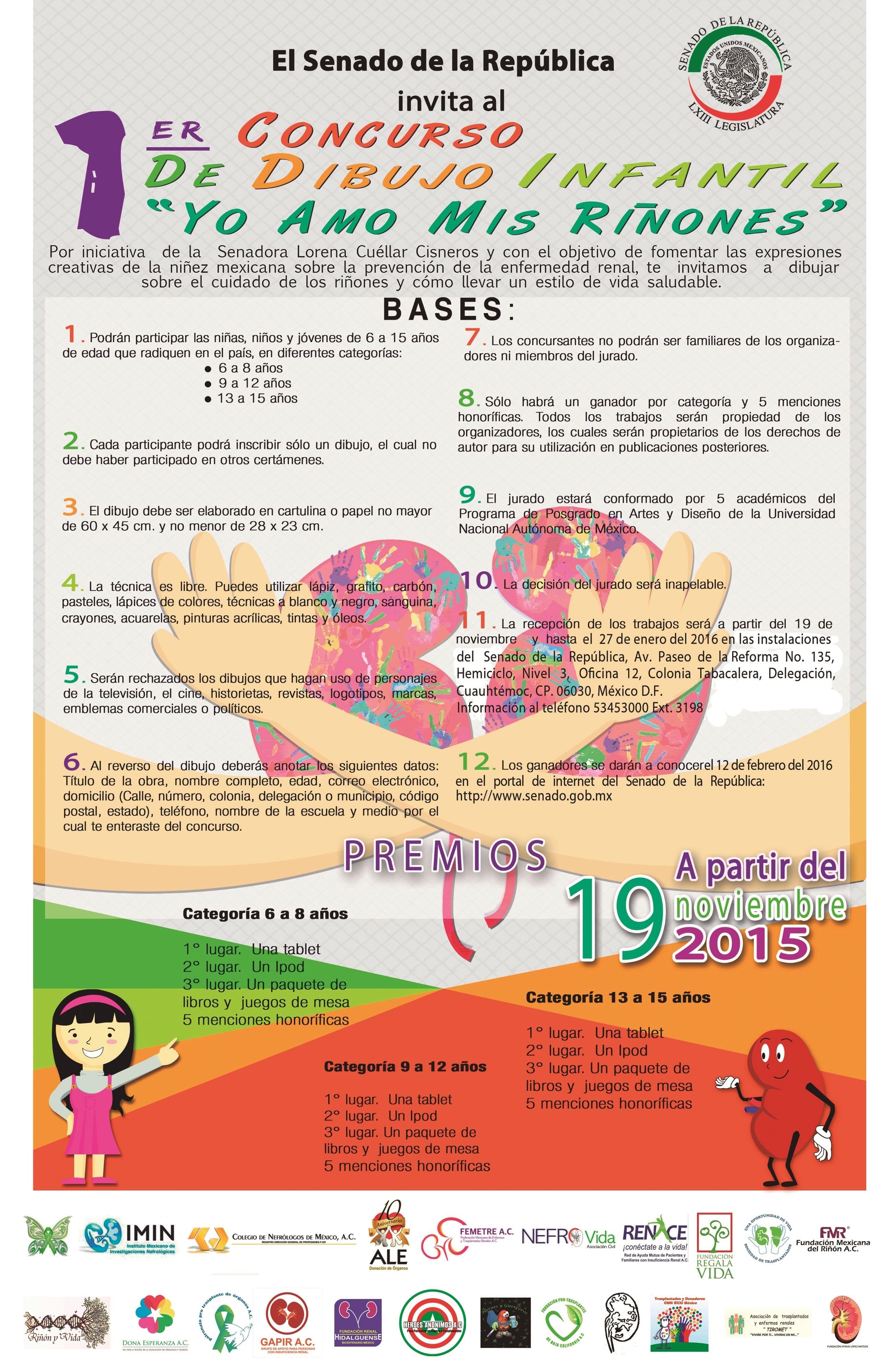 """Concurso Infantil """"Yo Amo mis Riñones"""" SENADO DE LA REPÙBLICA LXIII Legislatura"""