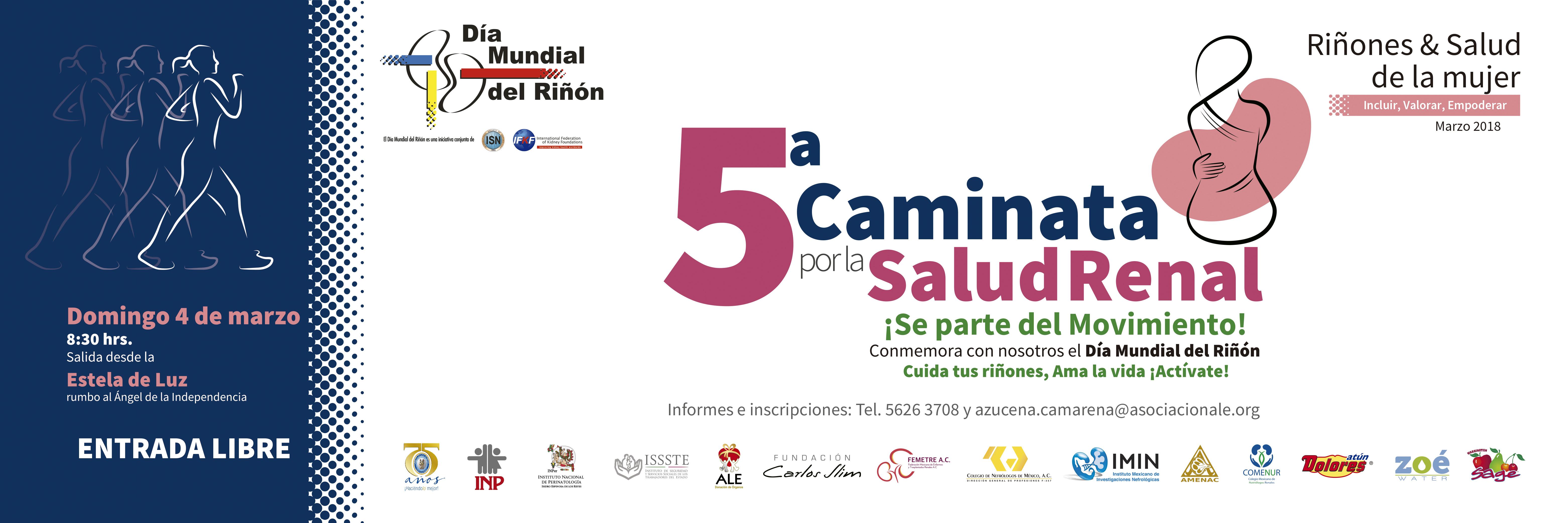 5ª Caminata por la Salud Renal, domingo 04 de marzo, CDMX